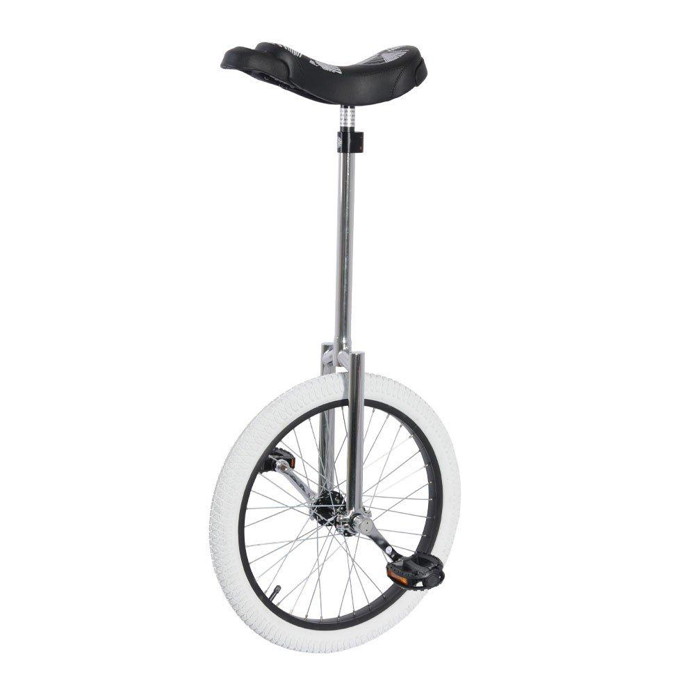 Un monoycle avec un long cadre et un pneu non marquant, idéal pour le freestyle et les autres pratiques en intérieur.
